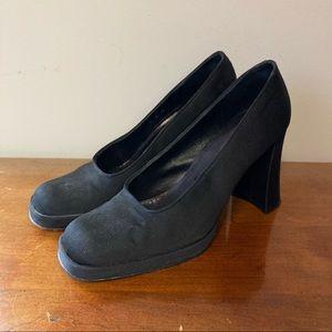David Aaron Black 90s Style High Heel Clogs 9